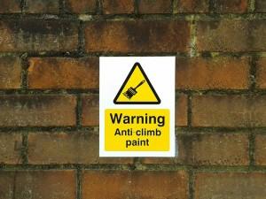 Abbeygate Locksmiths Anti Climb Paint Sign